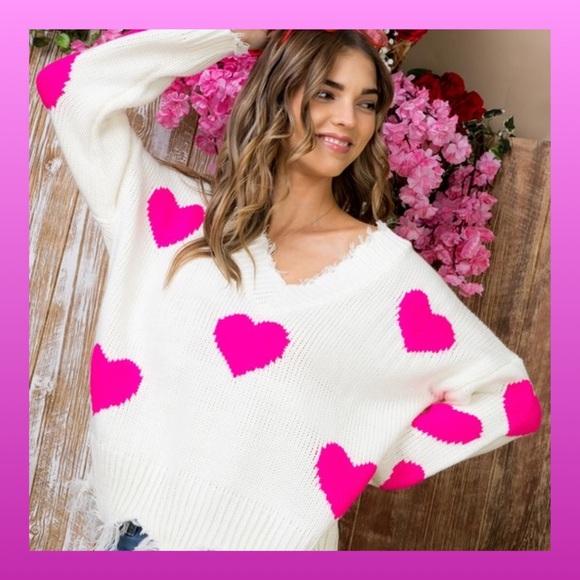 3fae366d0013e Sweaters   New Hot Pink Distressed Heart Sweater   Poshmark